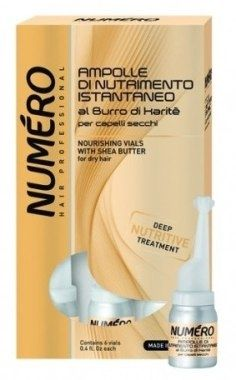 Подхранващи ампули с масло от карите - Brelil Numero Nourishing Vials With Shea Butter for dry Hair, 6 x 12 ml